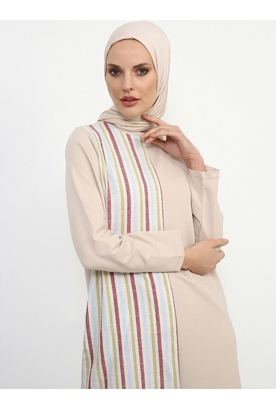 Çizgili Elbise - Bej - Refka