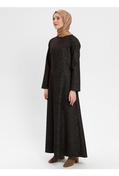 Flok Baskılı Elbise - Kahverengi - Modanaz