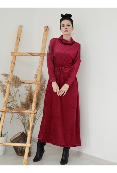 Gümüş Şerit Detaylı Kadife Elbise - Fuşya - Selma Sarı Design