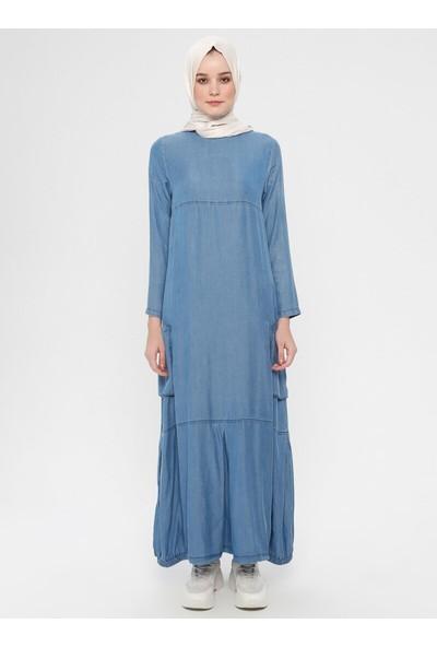 Eteği Lastikli Cepli Elbise - Mavi - Neways