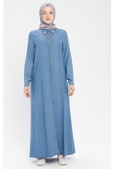 Doğal Kumaşlı Yakası Taşlı Kot Elbise - Mavi - Neways