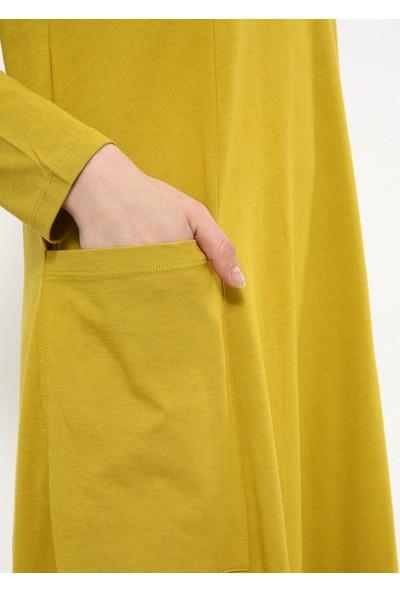 Doğal Kumaşlı Cep Detaylı Elbise - Safran - Everyday Basic