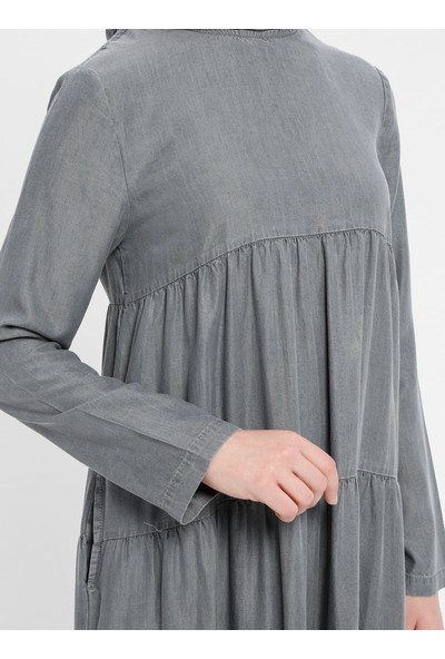 Tensel Kot Elbise - Gri - Neways