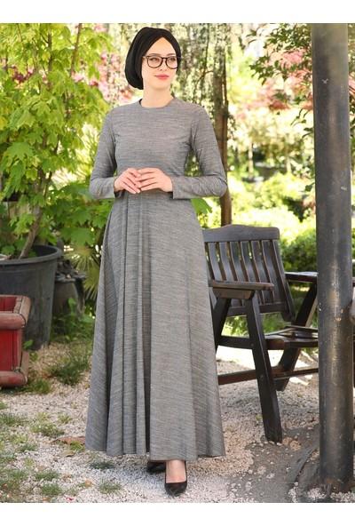 Doğal Kumaşlı Elbise - Antrasit - İnşirah
