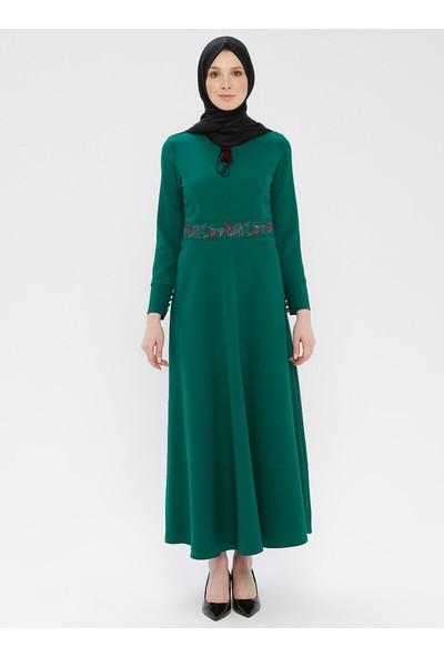 Nakışlı Elbise - Yeşil - Ginezza