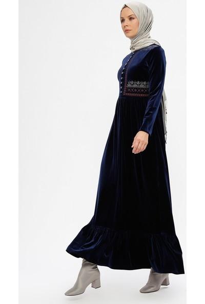 Drop Baskılı Kadife Elbise - Lacivert - Ginezza