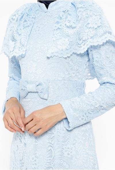 Dantelli Elbise - Mavi - Bürün