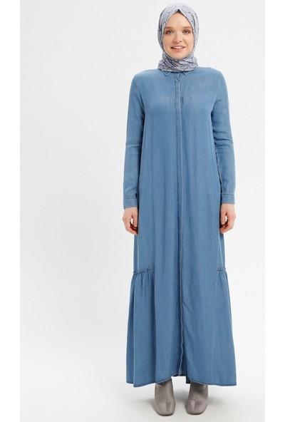 Gizli Düğmeli Tensel Kot Elbise - Mavi - Neways