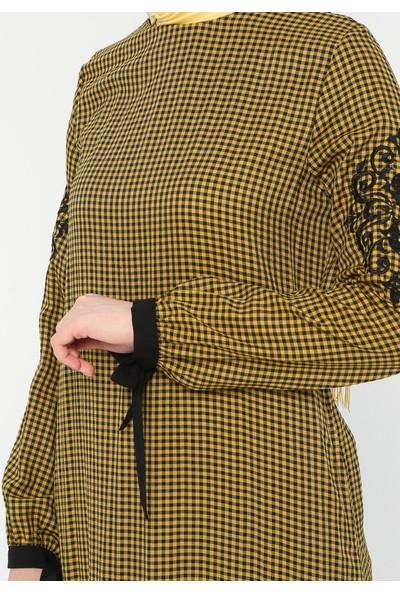 Nakış Detaylı Garnili Elbise - Hardal - Ginezza