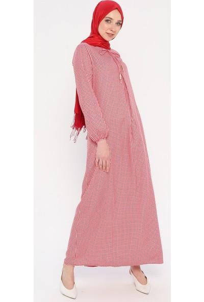 Pötikareli Elbise - Kırmızı - Ginezza