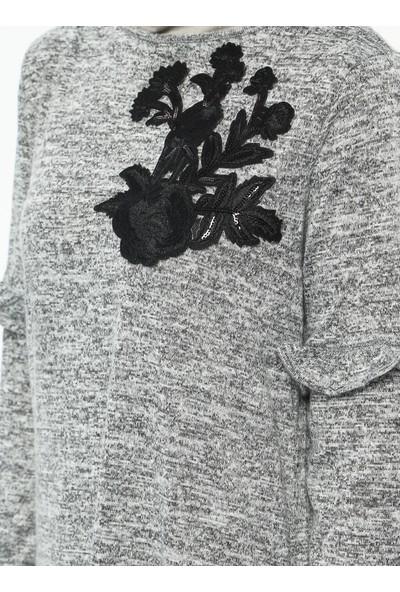 Güpür Detaylı Elbise - Gri - Neways