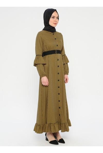 Volanlı Kemer Detaylı Elbise - Hardal - Ginezza
