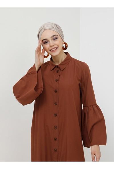 Doğal Kumaşlı Boydan Düğmeli Elbise - Tarçın - Benin