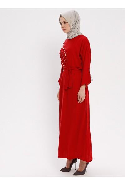 İncili Elbise - Kırmızı - Tuncay