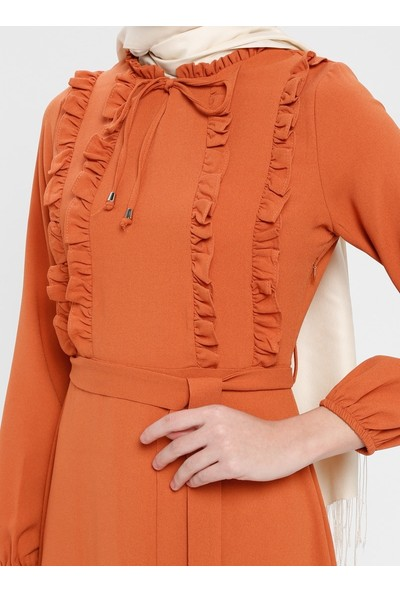 Fırfır Detaylı Elbise - Kiremit - Panaline