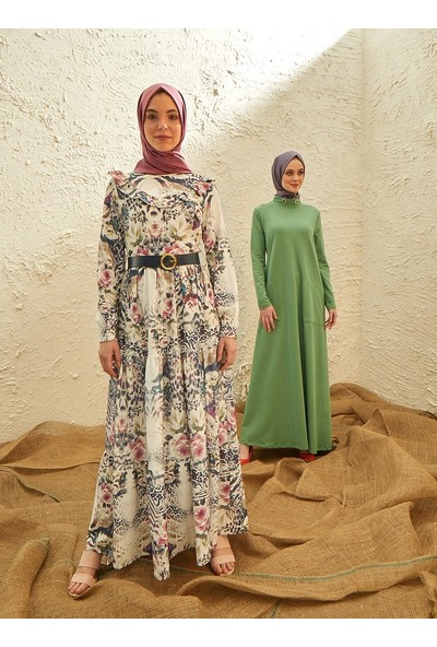 Yaka Detaylı Kemerli Elbise - Su Yeşili - Panaline