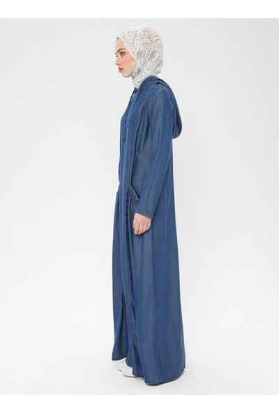 Kapüşonlu Tensel Kot Elbise - Mavi- Neways