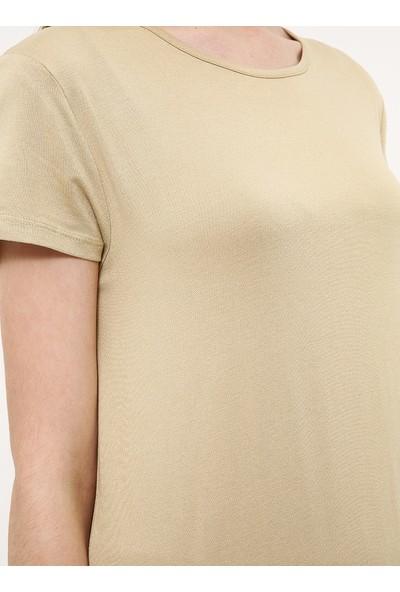Doğal Kumaşlı Kısa Kollu Elbise - Kum Beji - Everyday Basic