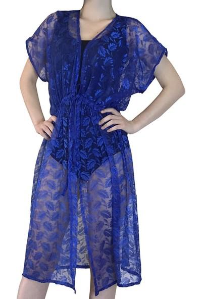 Pembe Deniz Parlament Mavisi Yelek Kadın Pareo