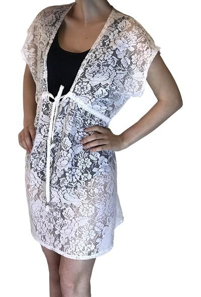 Pembe Deniz Beyaz Dantel Elbise Kadın Pareo