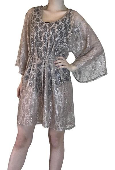 Pembe Deniz Çiçek Desenli Tül Elbise Kadın Pareo