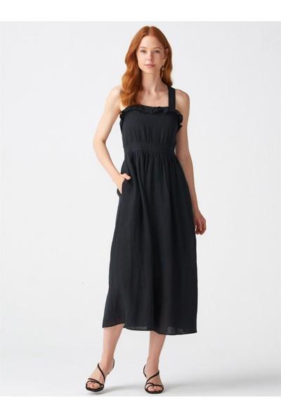 Dilvin 9022 Yaka Fırfırlı Askılı Elbise-Siyah