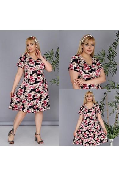 NBB Kadın Pembe Çiçekli Yazlık Elbise