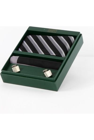 Dufy Kravat Kol Düğmesi Mendil Set