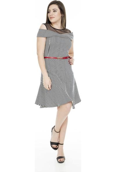 Ekol Omzu Açık Elbise Kadın Elbise 0234018