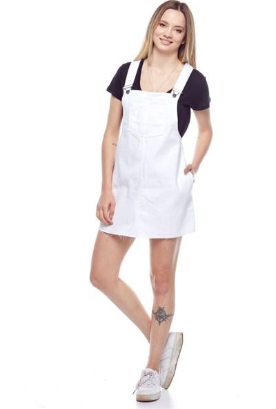 Tena Kadın Beyaz Salopet Beyaz Renkli Etek 9YBETDFL012