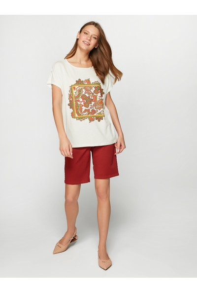 Faik Sönmez Kadın Çerçeveli Şal Desen Baskılı T-Shirt 38138