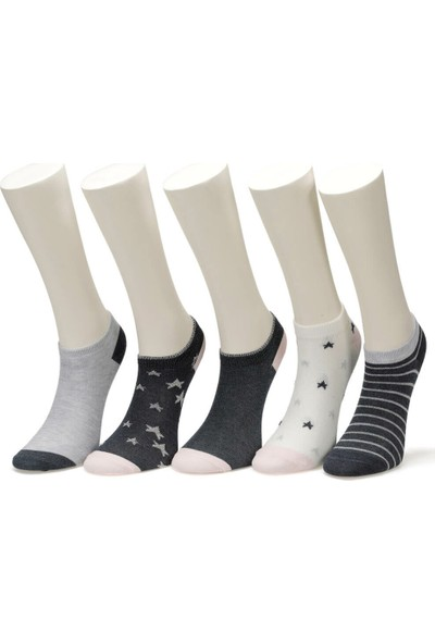 Miss F Star 5 Li Ptk-W Lac Kadın Patik Çorap