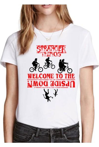 Rock&Roll Bisikletli Stranger Things Beyaz Kısa Kollu Kadın Kadın T-Shirt