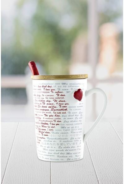 Angemiel Gift 100 Dilde Seni Seviyorum Yazılı Kapaklı Kaşıklı Kupa Bardak
