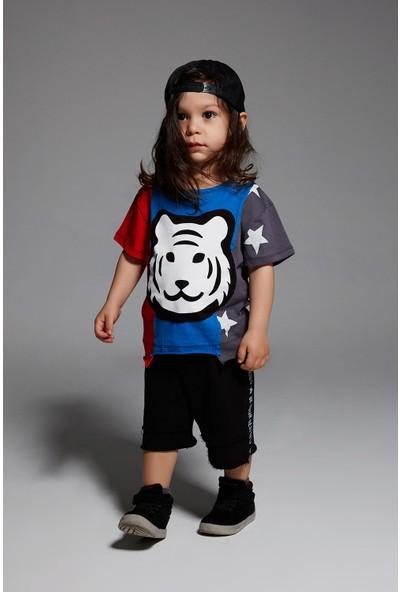 Monokido Tigo Flag T-Shirt Saks Mavi
