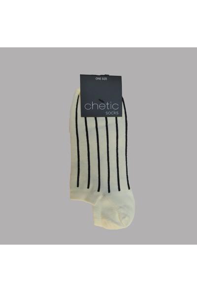 Chetic Çi̇zgi̇li̇ Desenli̇ Soluk Sari Sneaker Kadın Çorap