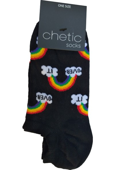 Chetic Gökkuşağı Desenli̇ Si̇yah Sneaker Kadın Çorap
