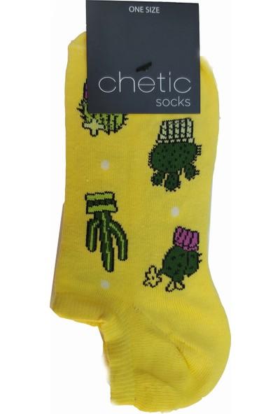 Chetic Kaktüsgi̇ller Desenli̇ Sari Sneaker Kadın Çorap