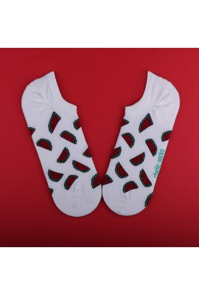 Chetic Karpuz Desenli̇ Beyaz Sneaker Kadın Çorap