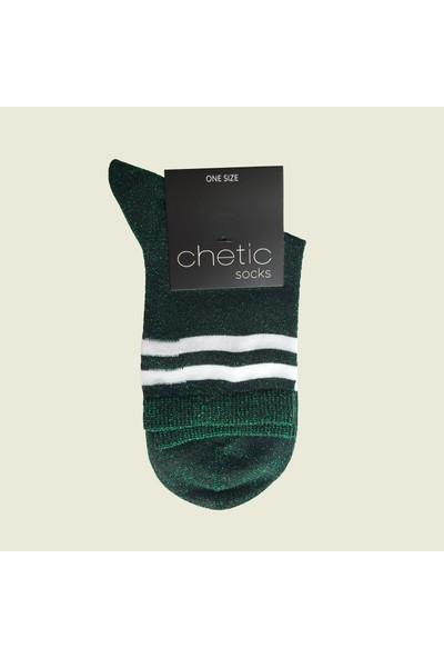 Chetic Si̇mli̇ İnce Şeri̇tli̇ Yeşi̇l Kadın Çorap