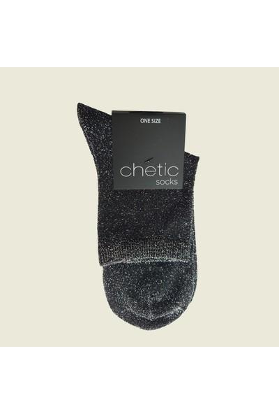 Chetic Si̇mli̇ Si̇yah Kadın Çorap
