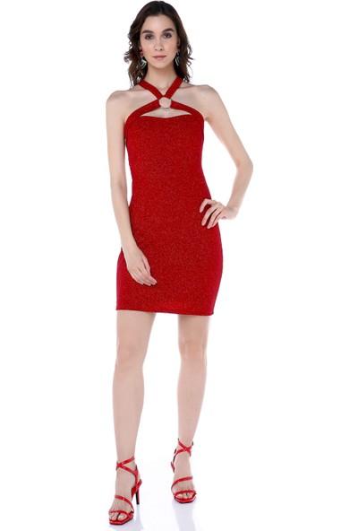 Sense 14708 Askılı Halka Aksesuarlı Simli Kısa Elbise