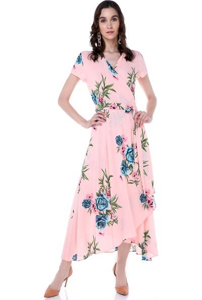Sense 31524 Önü Açık Beli Kuşaklı Çiçekli Elbise