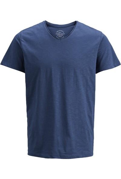 Jack & Jones 12136502 Erkek Jorbırch Tee Ss V-Neck T-Shirt Navy Blazer
