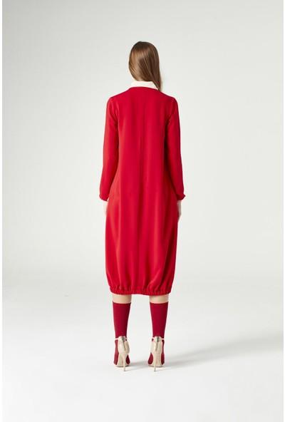 Mizalle Yakadan Fularlı Elbise