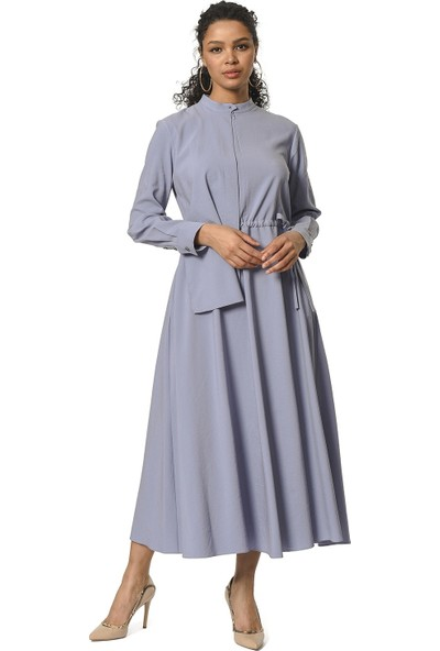 Mizalle Yaka Şal Detaylı Uzun Elbise