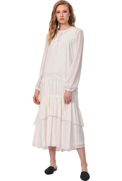 Mizalle Kat Detaylı Uzun Elbise