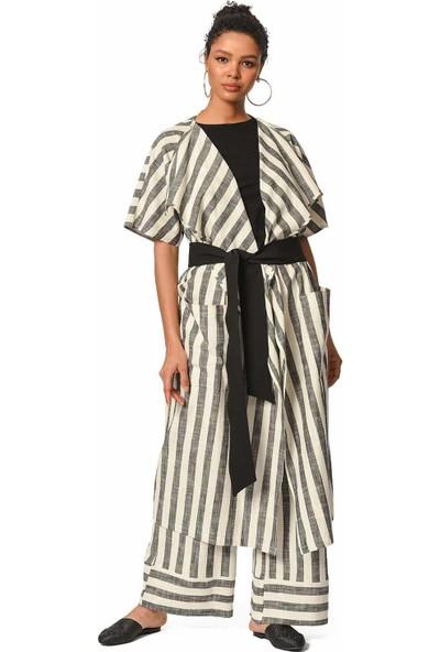 Mizalle Keten Çizgili Uzun Kimono Hırka