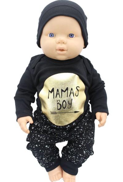 ÖzlemBebe Mamas Boy Altın Yaldizli Si̇yah 3 Lü Erkek Bebek Takım