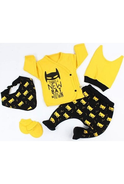 Mi̇ki̇ Baby Yeni Doğan Bebek Hastane Çıkışı 5 Li Zıbın Seti Mini Zeyn Batman